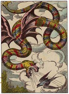 Image d'Epinal. Couleuvre ailée dans le conte La Petite aux grelots