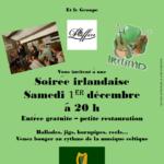 Affiche de musique irlandaise au café Les Puffins