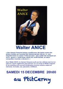 Affiche du concert de Walter Anice le 15 décembre au café Le Ptit Cerny