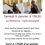 Conteuse Annick Geoffroy au café associatif Leptitcerny